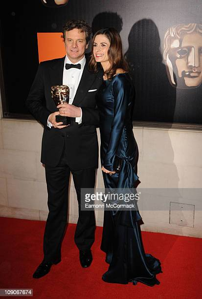 Colin Firth and Livia Giuggioli attend the official after party for Orange British Academy Film Awards at Grosvenor House on February 13 2011 in...