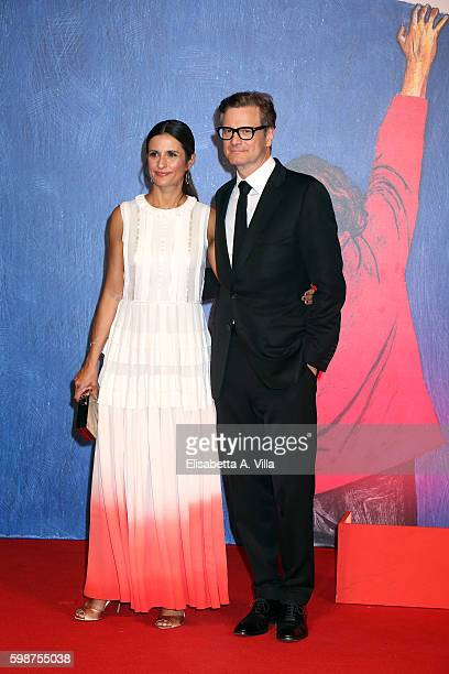 Colin Firth and Livia Giuggioli attend the premiere of 'Franca: Chaos And Creation' during the 73rd Venice Film Festival at Sala Giardino on...