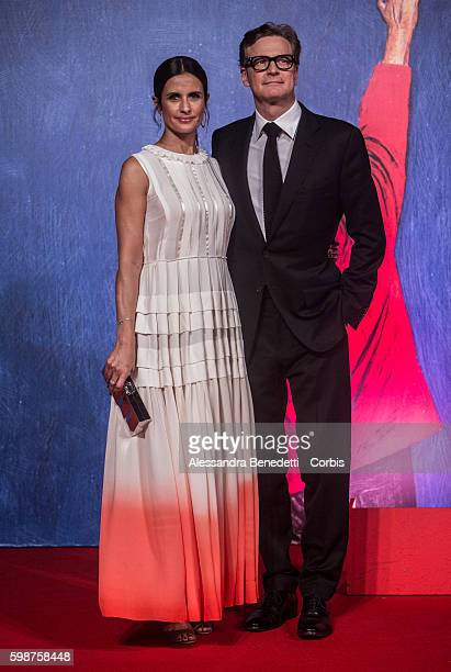 Colin Firth and Livia Giuggioli attend the premiere of FRANCA Chaos and Creation during the 73rd Venice Film Festival on September 2 2016 in Venice...