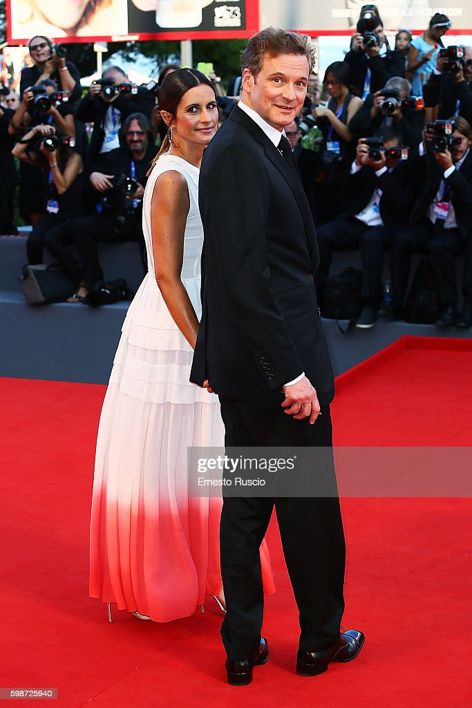 Colin Firth and Livia Giuggioli attend the premiere of 'Nocturnal Animals' during the 73rd Venice Film Festival at Sala Grande on September 2, 2016 in Venice, Italy.