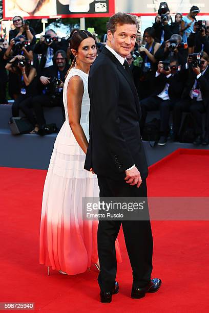Colin Firth and Livia Giuggioli attend the premiere of 'Nocturnal Animals' during the 73rd Venice Film Festival at Sala Grande on September 2 2016 in...