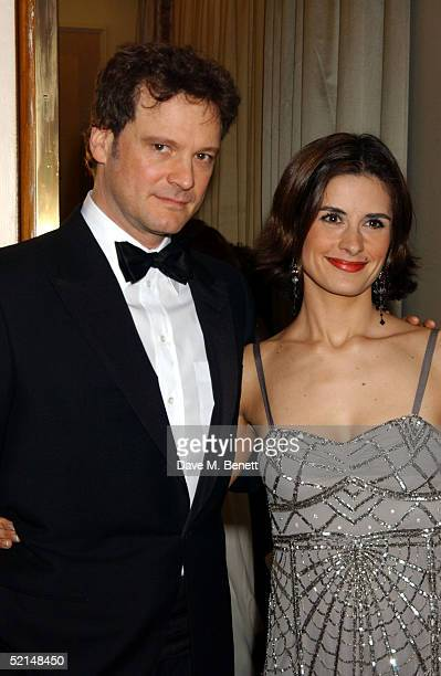 Colin Firth and Livia Giuggioli attend the PreReception ahead of the annual Evening Standard Film Awards 2005 at The Savoy on February 6 2005 in...