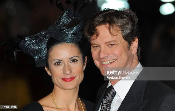 Colin Firth and Livia Giuggioli attend the UK Premiere of 'A Christmas Carol' at Empire Leicester Square on November 3 2009 in London England