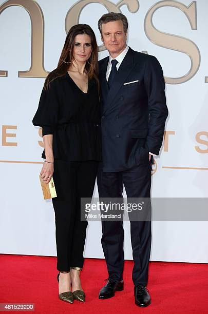 Colin Firth and Livia Giuggioli attend the World Premiere of 'Kingsman The Secret Service' at Odeon Leicester Square on January 14 2015 in London...