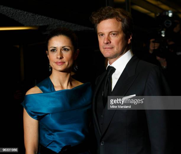 Colin Firth and Livia Giuggioli attend UK Film Premiere of 'A Single Man' at The Curzon Mayfair on February 1, 2010 in London, England.