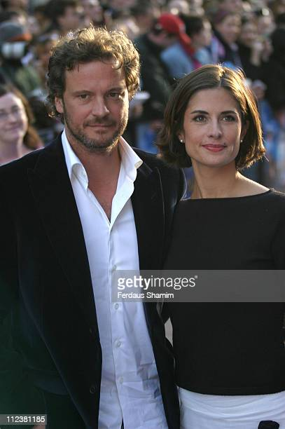 Colin Firth and Livia Giuggioli during 'Nanny McPhee' London Premiere Arrivals at UCI Empire Leicester Square in London Great Britain