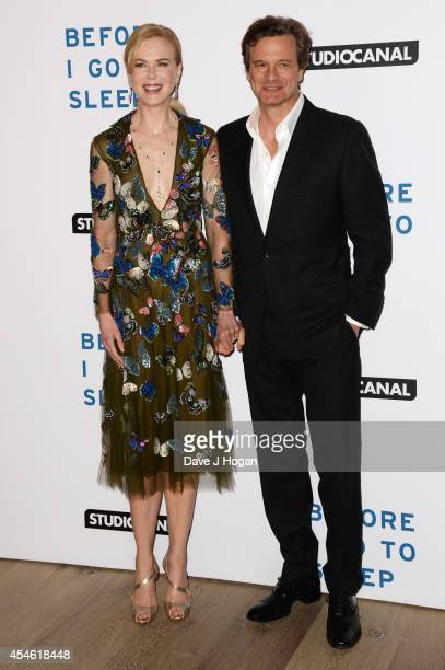 Colin Firth and Nicole Kidman attend the UK gala screening for 'Before I Go To Sleep' at The Ham Yard Hotel Hotel on September 4 2014 in London...