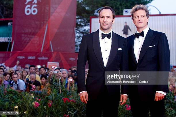 Colin Firth and Tom Ford attend the awards ceremony of the 66th Venice Film Festival