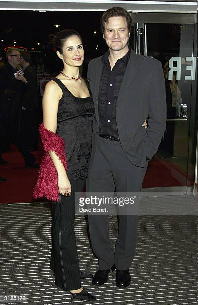 "Colin Firth and wife attend the UK Premiere of ""Love Actually"" at the Odeon, Leicester Square on November 17, 2003 in London."