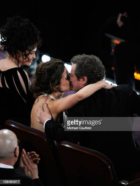 Colin Firth kisses wife Livia Giuggioli during the 83rd Annual Academy Awards held at the Kodak Theatre on February 27 2011 in Hollywood California