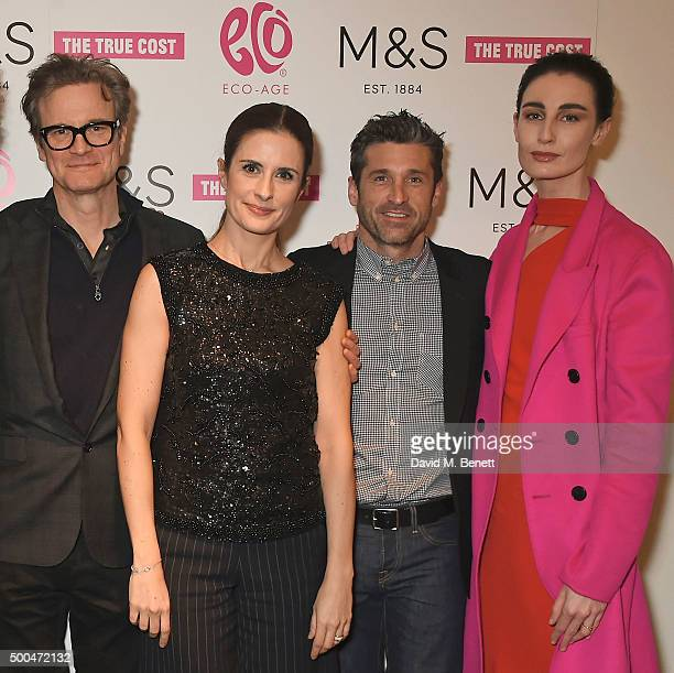 Colin Firth Livia Firth Patrick Dempsey and Erin O'Connor at the Eco Age screening of The True Cost on December 8 2015 in London England