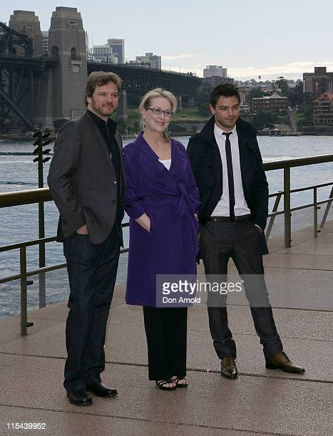 Colin Firth Meryl Streep and Dominic Cooper pose during a press conference for Mamma Mia The Movie at the Sydney Opera House on July 8 2008 in Sydney...