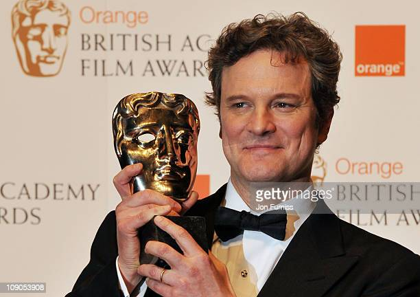 Colin Firth poses with the award for Leading Actor for the film 'The King's Speech' during the 2011 Orange British Academy Film Awards at The Royal...