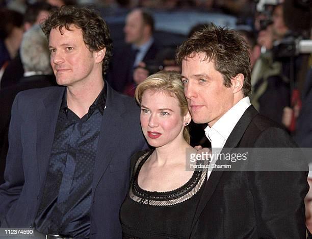 "Colin Firth, Rene Zellweger and Hugh Grant during ""Bridget Jones's Diary"" UK Premiere at Empire London in London, Great Britain."