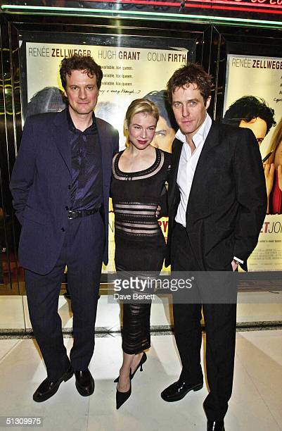 """Colin Firth, Renee Zellweger and Hugh Grant attend the UK Premiere of """"Bridget Jones's Diary"""" at the Empire Leicester Square followed by the party at..."""
