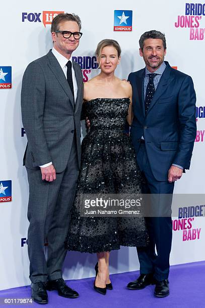 Colin Firth Renee Zellweger and Patrick Dempsey attend 'Bridget Jones Baby' premiere at Kinepolis Cinema on September 9 2016 in Madrid Spain