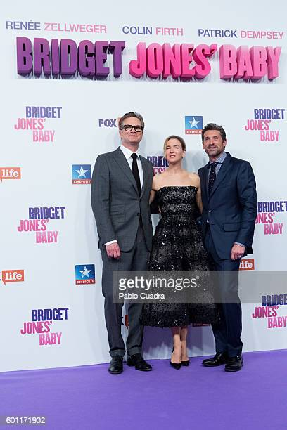 Colin Firth Renee Zellweger and Patrick Dempsey attend the 'Bridget Jones' Baby' premiere at Kinepolis Cinema on September 9 2016 in Madrid Spain