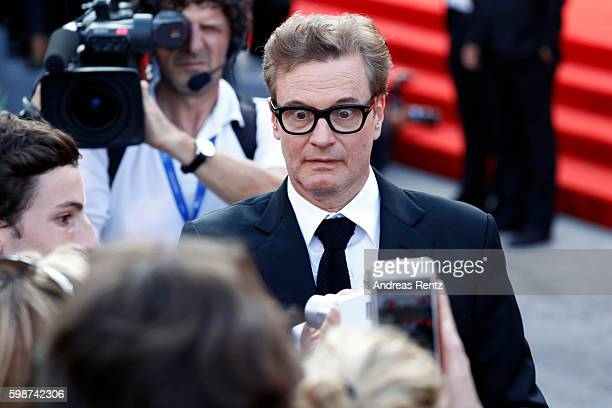 Colin Firth take selfies during the premiere of 'Nocturnal Animals' during the 73rd Venice Film Festival at Sala Grande on September 2 2016 in Venice...