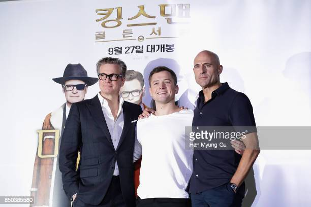 Colin Firth Taron Egerton and Mark Strong attend the 'Kingsman The Golden Circle' press conference at Yongsan CGV on September 21 2017 in Seoul South...