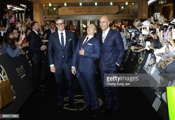 Colin FirthTaron Egerton and Mark Strong attend the red carpet of the 'Kingsman The Golden Circle' Seoul Premiere on September 20 2017 in Seoul South...