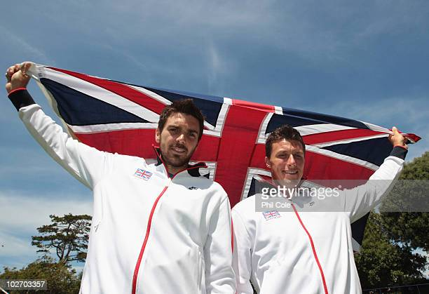 Colin Fleming and Ken Skupski of Great Britain during the Davis Cup draw between Great Britain and Turkey at Devonshire Park on July 8, 2010 in...