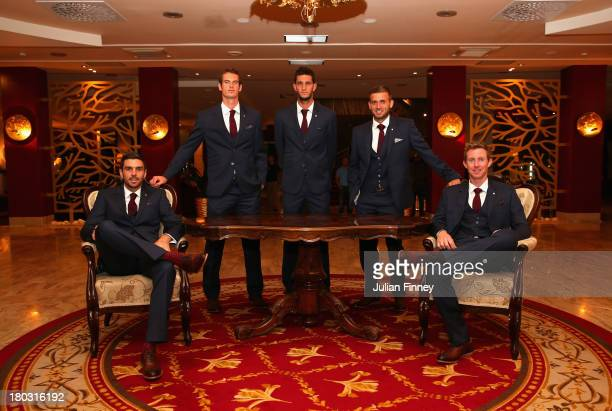 Colin Fleming, Andy Murray, James Ward, Daniel Evans and Jonny Marray of Great Britain pose for a team photo during previews ahead of the Davis Cup...