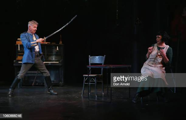 Colin Friels plays the role of Edgar and Pamela Rabe the role of Alice during a media call for The Dance Of Death at Belvoir Street Theatre on...