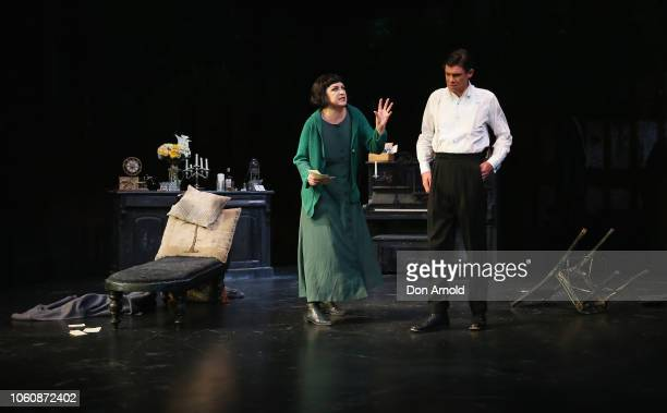 Colin Friels plays the role of Edgar Pamela Rabe the role of Alice and Toby Schmitz the role of Kurt during a media call for The Dance Of Death at...