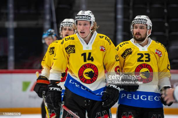 Colin Gerber of SC Bern looks on during the Swiss National League game between Lausanne HC and SCL Tigers at Vaudoise Arena on February 25, 2020 in...