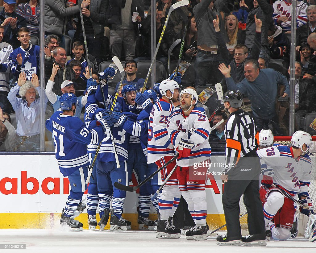 Colin Greening #38 of the Toronto Maple Leafs celebrates his 1st goal as a Maple Leaf against the New York Rangers during an NHL game at the Air Canada Centre on February 18, 2016 in Toronto, Ontario, Canada. The Rangers defeated the Maple Leafs 4-2.