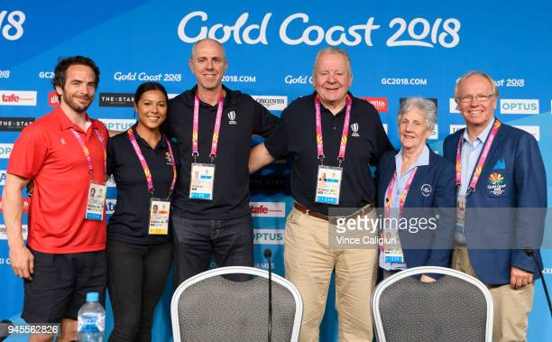 LR Colin Gregor Tiana Penitani NZ Rugby Sevens player Mark Egan Performance Director World Rugby Bill Beaumont Former Rugby Union player Louise...
