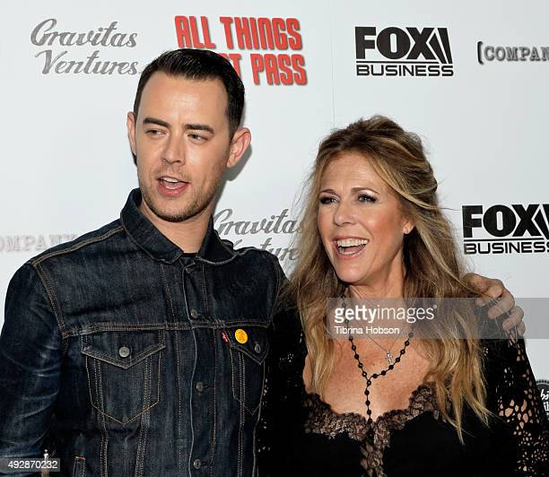 Colin Hanks and Rita Wilson attend the premiere of 'All Things Must Pass' at Harmony Gold Theatre on October 15 2015 in Los Angeles California