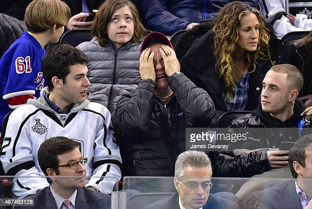Colin Hanks Tom Hanks and Chet Hanks attend the Los Angeles Kings vs New York Rangers game at Madison Square Garden on March 24 2015 in New York City
