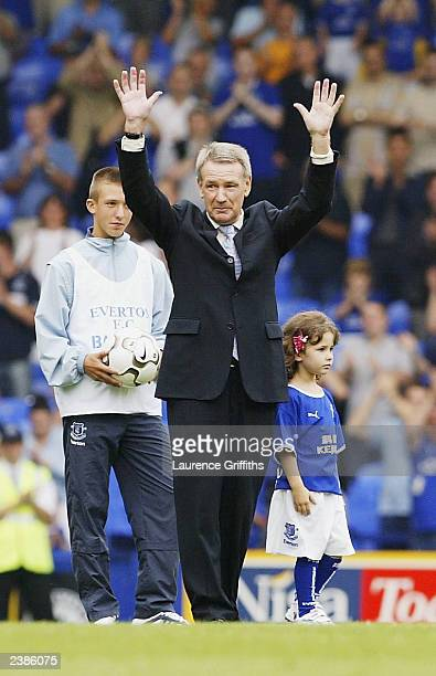 Colin Harvey salutes the fans before the Colin Harvey Testimonial match between Everton and Bologna on at Goodison Park August 10, 2003 in Liverpool,...