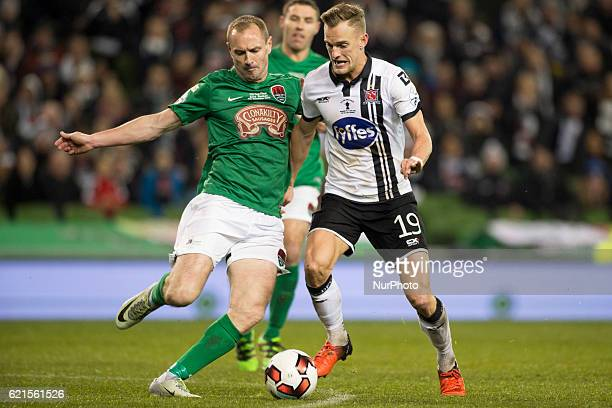 Colin Healy of Cork and Dean Shiels of Dundalk fight for the ball during the Irish Daily Mail FAI Senior Cup Final 2016 match between Cork City and...