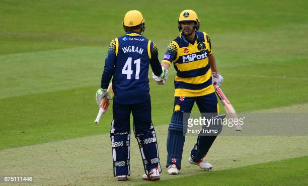 Colin Ingram and Jacques Rudolph of Glamorgan shake hands during the Royal London OneDay Cup match between Glamorgan and Surrey at the Swalec Stadium...