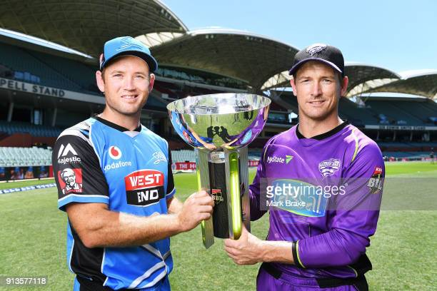 Colin Ingram captain of the Adelaide Strikers and George Bailey captain of the Hobart Hurricanes with BBL cup during the Big Bash League Final media...