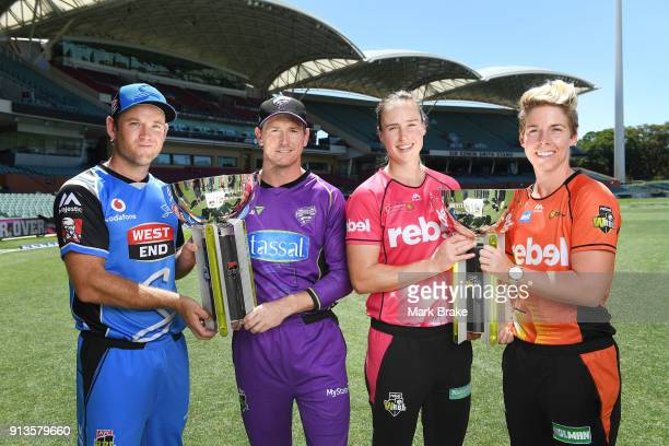 Colin Ingram captain of the Adelaide StrikersGeorge Bailey captain of the Melbourne Renegades Ellyse Perry captain of the Sydney Sixers and Elyse...