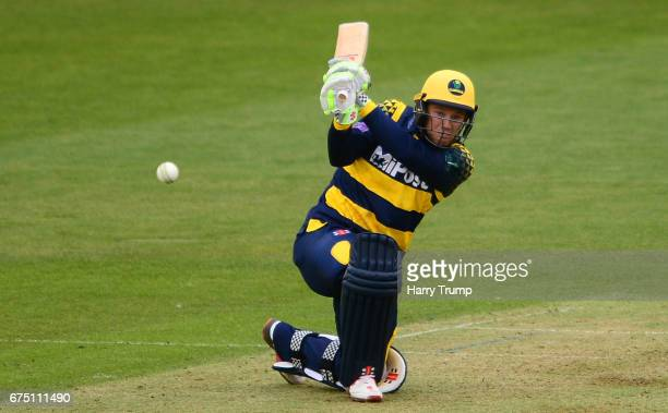 Colin Ingram of Glamorgan bats during the Royal London OneDay Cup match between Glamorgan and Surrey at the Swalec Stadium on April 30 2017 in...