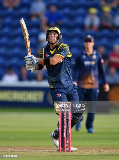 Colin Ingram of Glamorgan bats during the Vitality Blast match between Glamorgan and Essex Eagles at Sophia Gardens on August 7 2018 in Cardiff Wales