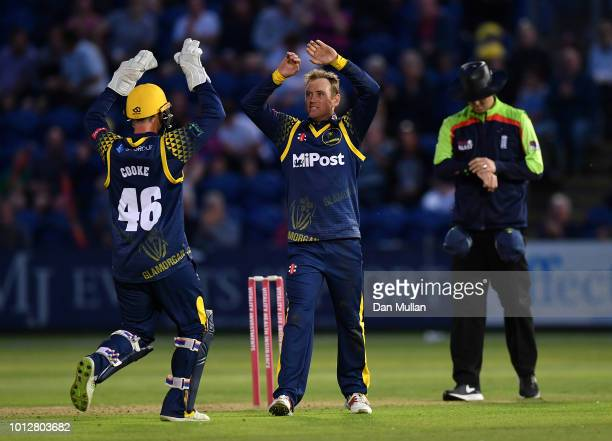 Colin Ingram of Glamorgan celebrates taking the wicket of Ryan ten Doeschate of Essex Eagles during the Vitality Blast match between Glamorgan and...