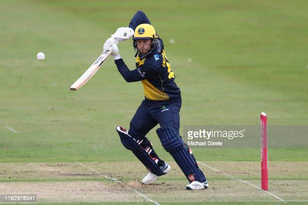 Colin Ingram of Glamorgan plays to the offside during the Vitality Blast match between Gloucestershire and Glamorgan at College Ground on July 19,...
