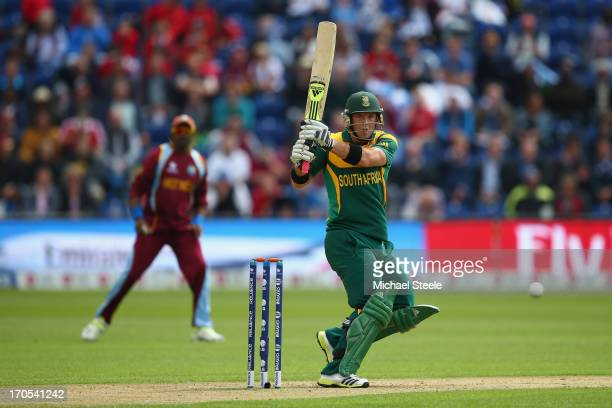 Colin Ingram of South Africa pulls a ball behind square during the ICC Champions Trophy Group B match between West Indies and South Africa at the...