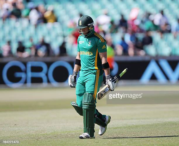 Colin Ingram of South Africa walks off after scoring a duck on March 21 2013 during the fourth oneday international against Pakistan at Kingsmead in...