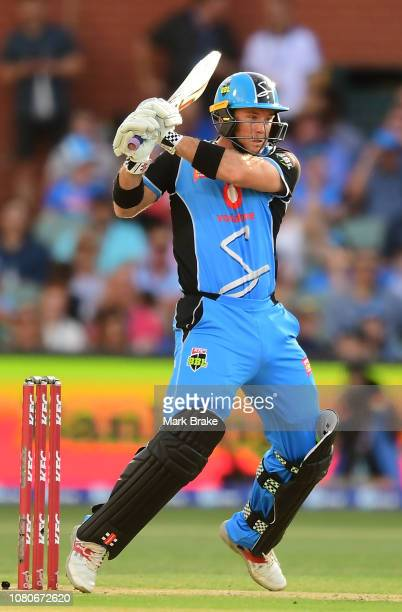 Colin Ingram of the Adelaide Strikers bats during the Big Bash league match between the Adelaide Strikers and the Melbourne Stars at Adelaide Oval on...