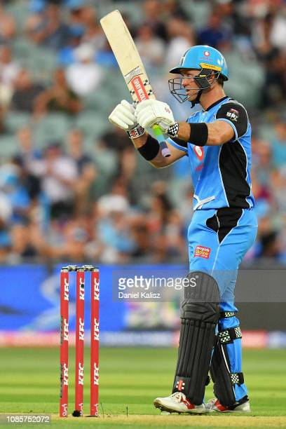 Colin Ingram of the Adelaide Strikers reacts after reaching his half century during the Big Bash League match between the Adelaide Strikers and the...