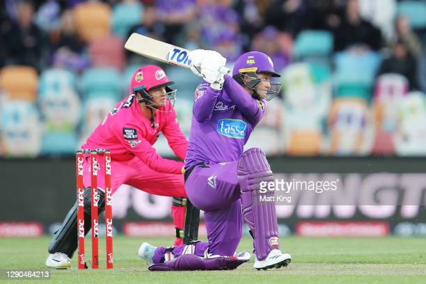 Colin Ingram of the Hurricanes bats during the Big Bash League match between the Hobart Hurricanes and Sydney Sixers at Blundstone Arena, on December...