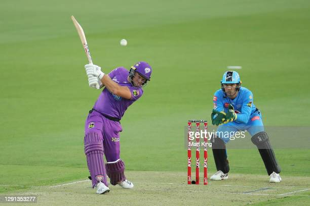 Colin Ingram of the Hurricanes bats during the Big Bash League match between Hobart Hurricanes and Adelaide Strikers at University of Tasmania...