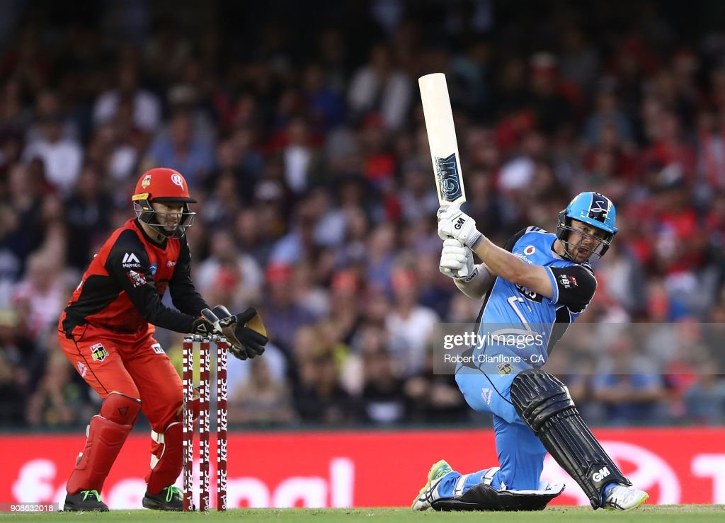 Colin Ingram of the Strikers bats during the Big Bash League match between the Melbourne Renegades and the Adelaide Strikers at Etihad Stadium on January 22, 2018 in Melbourne, Australia.
