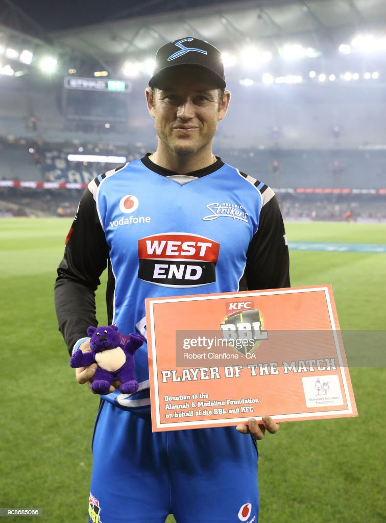 Colin Ingram of the Strikers poses with the Man of the Match award after the Big Bash League match between the Melbourne Renegades and the Adelaide Strikers at Etihad Stadium on January 22, 2018 in Melbourne, Australia.